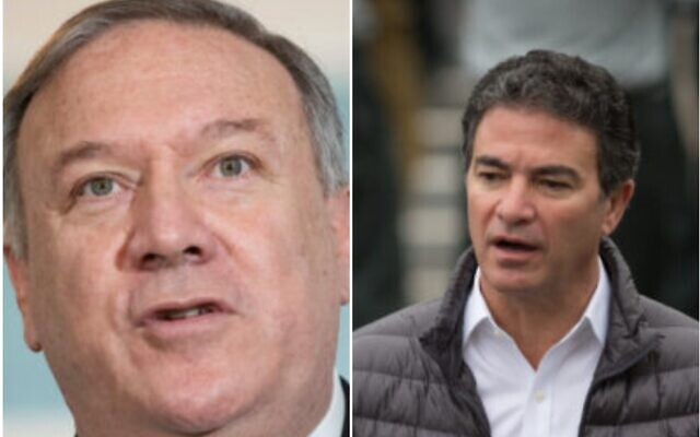This combination of photos shows US Secretary of State Mike Pompeo (L) and Mossad chief Yossi Cohen. (Saul Loeb/Pool via AP and Miriam Alster/Flash90)