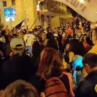 Demonstrators against Prime Minister Benjamin Netanyahu in Jerusalem, January 9, 2021 (video screenshot)