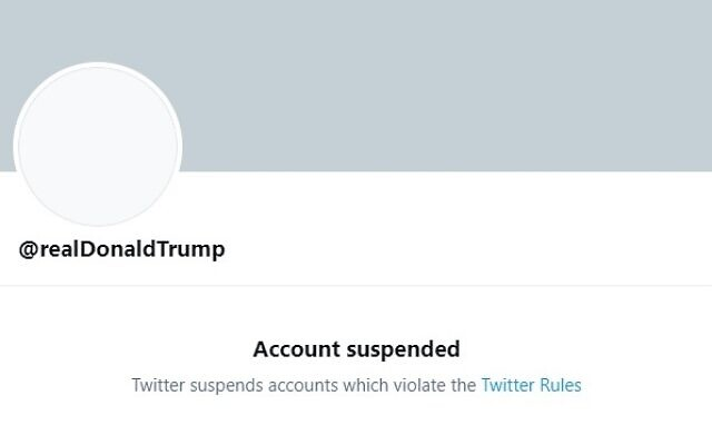 US President Donald Trump's Twitter account is seen after its permanent suspension by the platform on January 9, 2021 (screenshot)