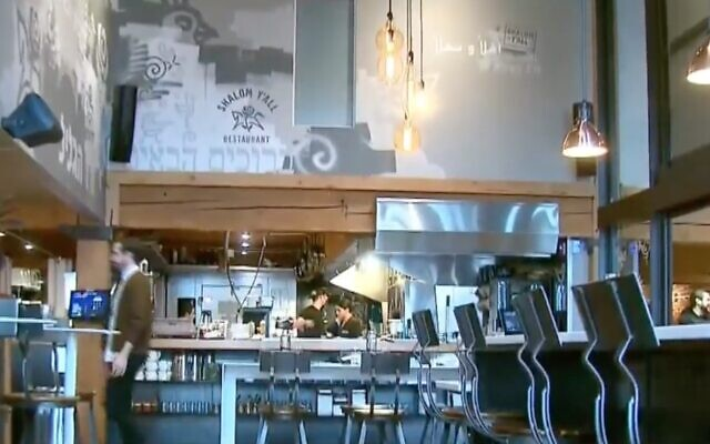The interior of a Shalom Y'all restaurant in Portland, shown in a 2019 newscast. (Screenshot from YouTube via JTA)