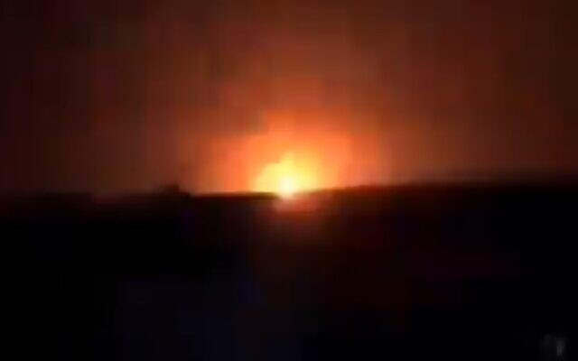 An explosion from a suspected Israeli air strike in eastern Syria on January 13, 2021 (Screencapture/Twitter)