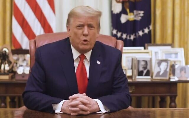 US President Donald Trump speaks in a video on January 13, 2013, hours after being impeached for the second time. (Screencapture/Twitter)