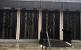 Swastikas were spray-painted on Montreal's Congregation Shaar Hashomayim's front doors, January 13, 2021. (Friends of Simon Wiesenthal Center)