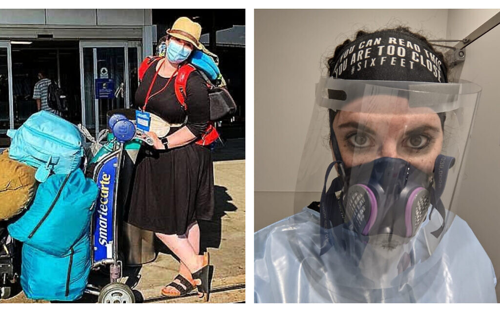 Left: Dr. Deena Wasserman prepares to depart from Newark Airport on her flight to move to Israel; Right: Dr. Deena Wasserman in the protective gear sometimes required when treating patients during the pandemic. (Courtesy)