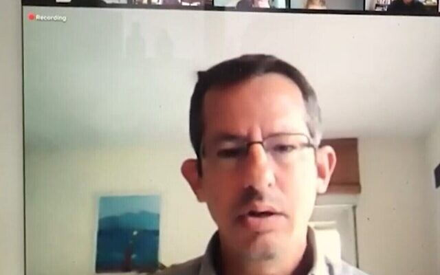 B'Tselem head Hagai El-Ad gives a webinar to Haifa students, January 18, 2020 (Screen grab/Walla)