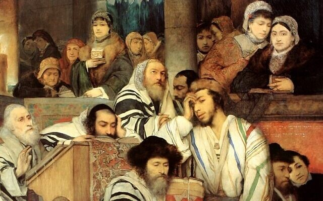 "Detail of ""Jews Praying in the Synagogue on Yom Kippur,"" by Polish Jewish artist Maurycy Gottlieb, 1878, Tel Aviv Museum of Art."