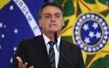 Brazilian President Jair Bolsonaro speaks at Planalto Palace in Brasilia, on February 9, 2021. (Evaristo Sa/AFP)