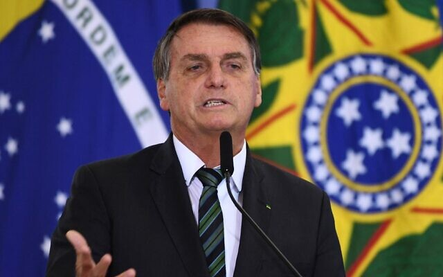 Brazilian President Jair Bolsonaro speaks at Planalto Palace in Brasilia, on February 9, 2021. (Evaristo Sa/AFP)
