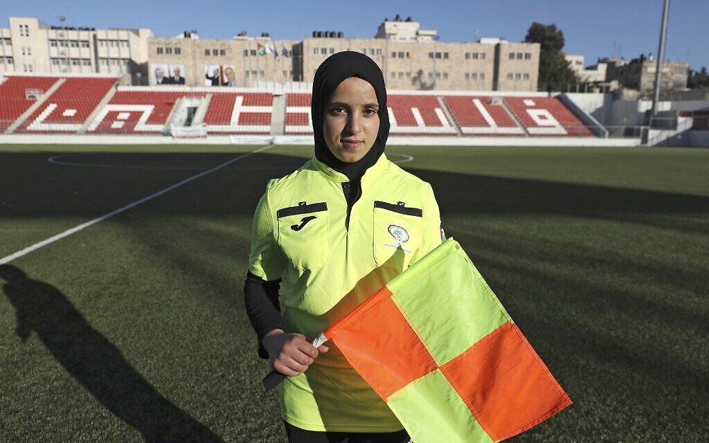 Hanin Abu Mariam, a 21-year-old Palestinian female referee, after a football match at Faisal Al-Husseini International Stadium in the West Bank city of Al-Ram, north of Jerusalem, February 11, 2021. (ABBAS MOMANI/AFP)