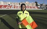 Hanin Abu Mariam, a 21-year-old Palestinian female referee, after a football match at Faisal Al-Husseini International Stadium in the West Bank city of Al-Ram, north of Jerusalem, February 11, 2021. (ABBAS MOMANI/AFP)