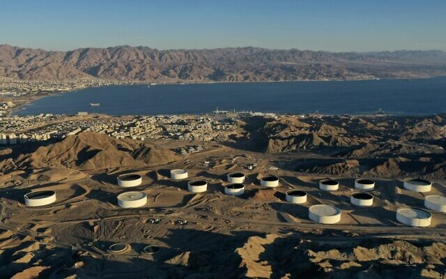 This aerial photograph, taken on February 10, 2021, shows the oil storage containers of the Eilat Ashkelon Pipeline Company (EAPC) in the mountains near Israel's Red Sea port city of Eilat. (MENAHEM KAHANA/AFP)