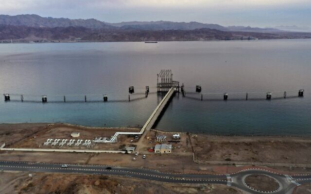 An aerial view of the Eilat-Ashkelon Pipeline Company's (EAPC) oil terminal at Israel's southern Red Sea port city of Eilat, on February 9, 2021. (MENAHEM KAHANA / AFP)