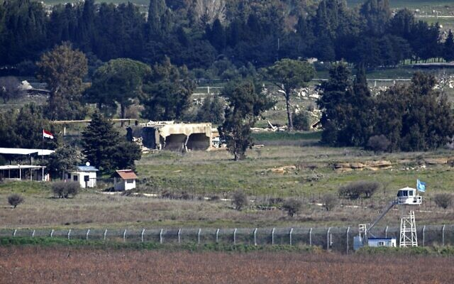 This picture taken from the Golan Heights on February 15, 2021, shows Israel's border fence with the Syrian governorate of Quneitra (JALAA MAREY / AFP)