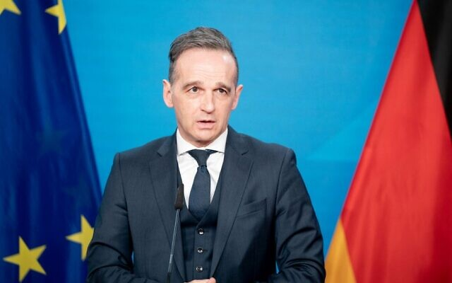 German Foreign Minister Heiko Maas gives a press statement in Berlin on February 16, 2021. (Kay Nietfeld/Pool/AFP)
