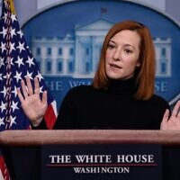 White House Press Secretary Jen Psaki speaks during a news briefing at the James Brady Press Briefing Room of the White House, on February 16, 2021, in Washington. (Nicholas Kamm / AFP)