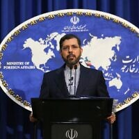 Iranian Foreign Ministry spokesman Saeed Khatibzadeh during a press conference in Tehran, on February 22, 2021. (Atta Kenare / AFP)