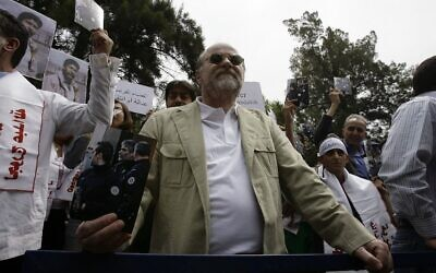 Anis Naccache, a Lebanese pro-Palestinian former terrorist notorious for his role in the 1975 OPEC hostage-taking in Vienna and the attempted assassination near Paris of Iran's former premier, during a demonstration outside the French embassy in the capital Beirut, April 30, 2010. (Anwar AMRO / AFP)