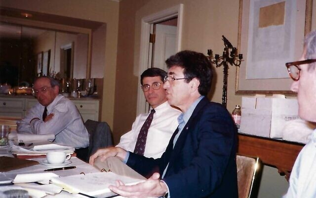 Dr. Robert Lefkowitz, speaking at center right, with Dr. Anthony Fauci at center left. The two served together for a decade on the Council of the Association of American Physicians during the 1990s. (Courtesy)
