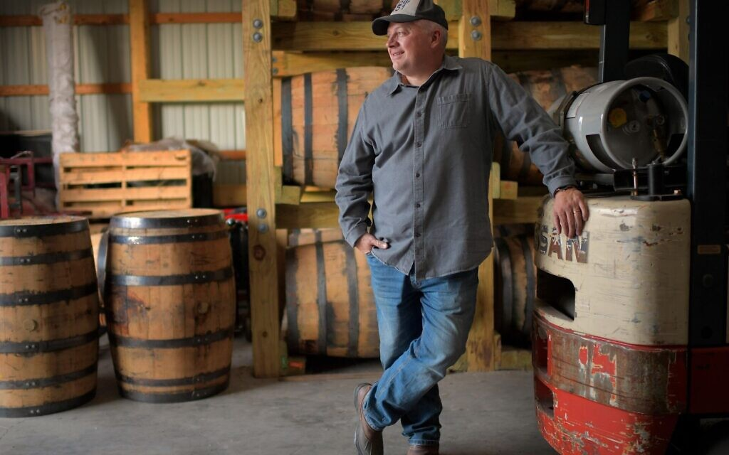 Former congressman Denver Riggleman in his barrel barn, where he ages spirits from the Virginia distillery that he co-owns with his wife, Nov. 20, 2020. (John McDonnell/The Washington Post via Getty Images /JTA)