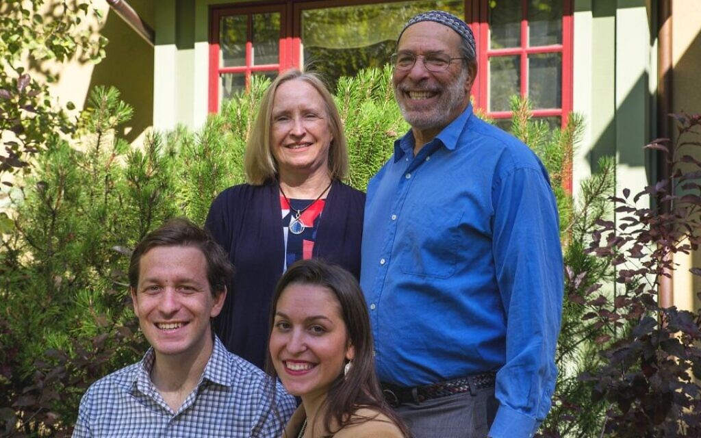 Rabbi Ed Stafman poses with his family in an undated campaign photo in Bozeman, Montana, in 2020. (Ed Stafman campaign/ via JTA)