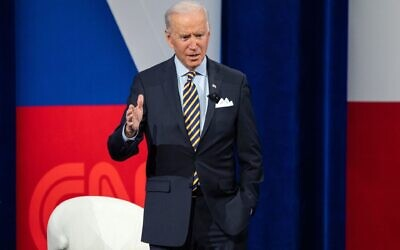 US President Joe Biden participates in a CNN town hall at the Pabst Theater in Milwaukee, Wisconsin, February 16, 2021. (Saul Loeb/AFP via Getty Images)