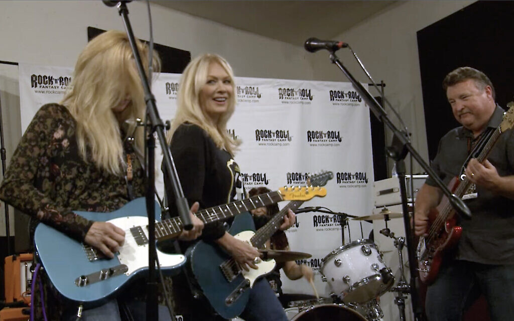 Nancy Wilson, Heart guitarist and vocalist, playing with campers at Rock N' Roll Fantasy Camp in Los Angeles, July 1, 2017. (Courtesy Rock N' Roll Fantasy Camp)