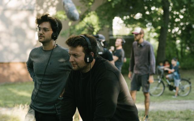 Mickey Paatzsch, left, and Arkadij Khaet on set. (Courtesy of 'Masel Tov Cocktail'/ via JTA)