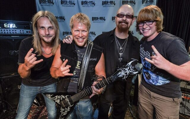 From left: Richie Faulkner from Judas Priest, Scott Keller, Rob Halford from Judas Priest, Laughlin Keller at Rock 'n' Roll Fantasy Camp in Los Angeles, November 10, 2016. (Courtesy Rock N' Roll Fantasy Camp)