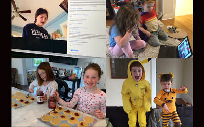 Students at the Leffell School in Westchester County, which emerged as an early epicenter for the coronavirus last spring in New York state, celebrated Purim from home in 2020. (Courtesy of Yael Buechler/ via JTA)