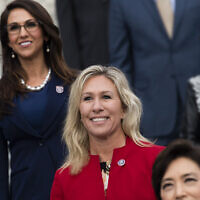 Reps. Marjorie Taylor Greene, center, and Lauren Boebert, left, are seen during a group photo with freshmen members of the House Republican Conference in Washington, DC, January 4, 2021. (Tom Williams/CQ-Roll Call, Inc via Getty Images/ via JTA/ SUE)