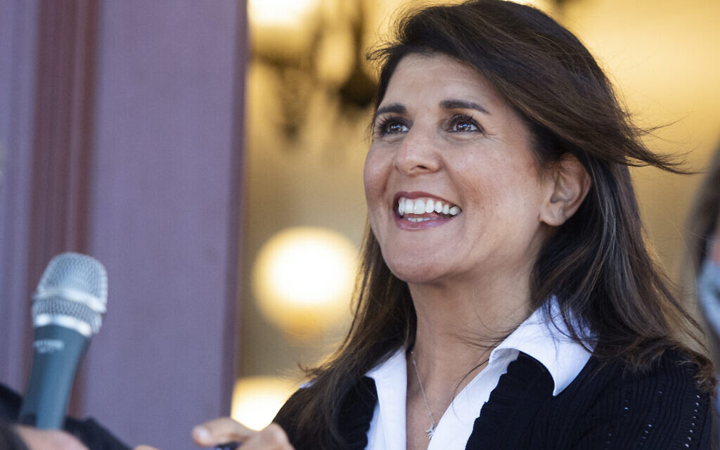 Nikki Haley, former US ambassador to the United Nations, in Monroe, Georgia, October 30, 2020. (Tom Williams/CQ-Roll Call, Inc via Getty Images/JTA)
