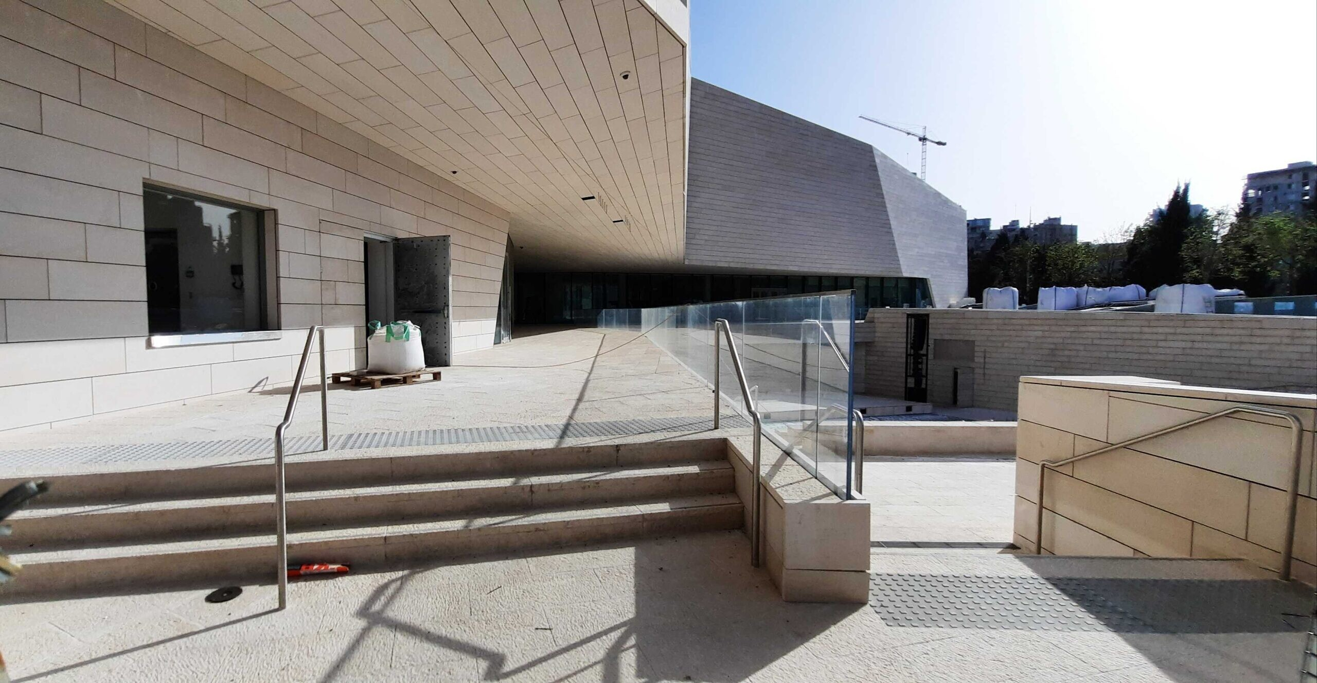 A view of the under-construction Museum of Tolerance Jerusalem on April 5, 2021. (Joshua Davidovich/Times of Israel)