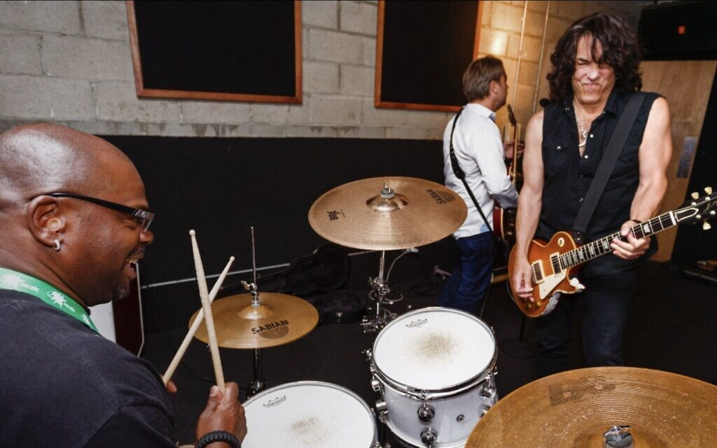 On drums, Scott 'Pistol' Crocket, a rock camper, playing with Paul Stanley, KISS co-lead singer and guitarist at Rock 'N' Roll Fantasy Camp in North Hollywood, CA on June 16, 2016. (Courtesy Rock N' Roll Fantasy Camp)