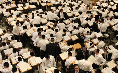The study hall of Beth Medrash Govoha, the central yeshiva of Lakewood, New Jersey, before the COVID-19 pandemic. (www.bmg.edu via JTA)