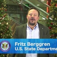 Fritz Berggren appears in a holiday video shared by the US Department of Defense in 2018. (Department of Defense via JTA)