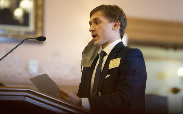 Representative Aaron Coleman makes remarks during a special hearing regarding complaints and calls for removal from his position January 22, 2021, at the Kansas Statehouse in Topeka, Kansas (Evert Nelson/The Topeka Capital-Journal via AP)
