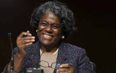 Linda Thomas-Greenfield smiles as she testifies during her confirmation hearing for US ambassador to the UN, before the Senate Foreign Relations Committee on Capitol Hill, January 27, 2021, in Washington. (Greg Nash/Pool via AP)