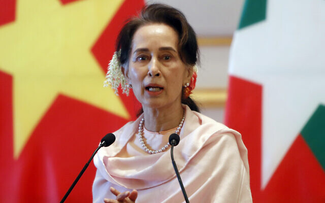 In this Dec. 17, 2019, file photo, Myanmar's leader Aung San Suu Kyi speaks during a joint press conference with Vietnam's Prime Minister Nguyen Xuan Phuc after their meeting at the Presidential Palace in Naypyitaw, Myanmar. Reports says Monday, Feb. 1, 2021 a military coup has taken place in Myanmar and Suu Kyi has been detained under house arrest. (AP Photo/Aung Shine Oo, File)