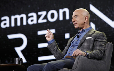 Amazon CEO Jeff Bezos speaks at the the Amazon re:MARS convention in Las Vegas, June 6, 2019. (John Locher/AP)