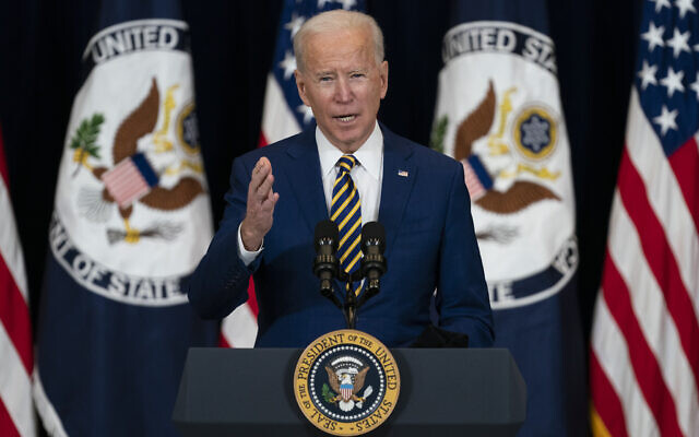 US President Joe Biden delivers remarks to State Department staff, February 4, 2021, in Washington. (AP Photo/Evan Vucci)