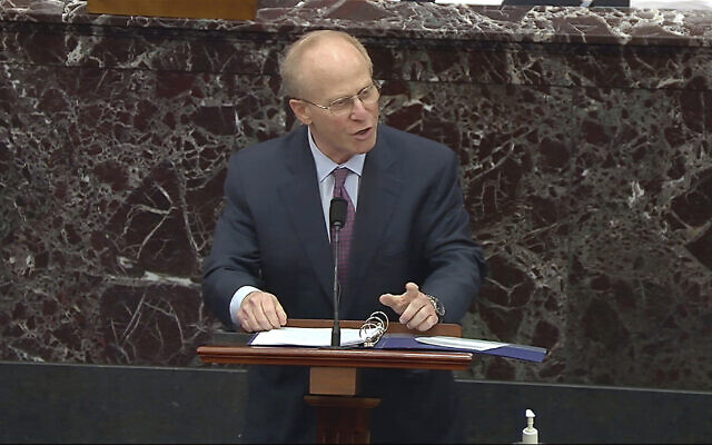 In this image from video, David Schoen, an attorney for former US president Donald Trump, speaks during the second impeachment trial of Trump in the Senate at the US Capitol in Washington, February 9, 2021. (Senate Television via AP)