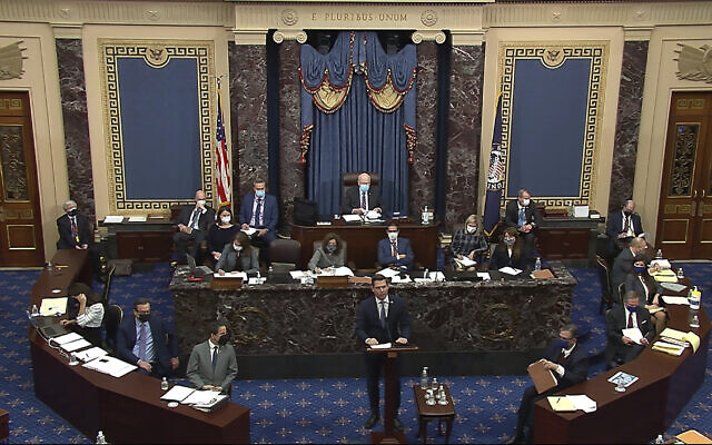 House impeachment manager Rep. Eric Swalwell, D-Calif., speaks during the second impeachment trial of former US President Donald Trump in the Senate at the U.S. Capitol in Washington, Wednesday, February 10, 2021. (Senate Television via AP)