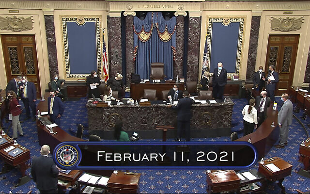In this image from video, the Senate begins the third day in the second impeachment trial of former president Donald Trump in the Senate at the US Capitol in Washington, Thursday, Feb. 11, 2021. (Senate Television via AP)