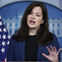 White House deputy national security adviser Anne Neuberger speaks during a press briefing, February 17, 2021, in Washington. (AP Photo/Evan Vucci)
