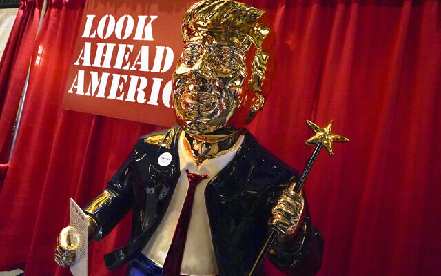A statue of former US president Donald Trump on display at the merchandise show at the Conservative Political Action Conference (CPAC) February 26, 2021, in Orlando, Florida. (AP/John Raoux)
