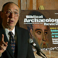 Hershel Shanks, editor of Biblical Archaeology Review, talks about the ancient inscriptions on a first-century stone burial box that refer to Jesus of Nazareth, during a press conference at a Washington hotel, Monday, Oct. 21, 2002. (AP Photo/J. Scott Applewhite)
