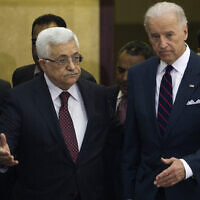 Mahmoud Abbas, left, and Joe Biden after their meeting in the West Bank city of Ramallah, Wednesday, March 10, 2010. (AP/Bernat Armangue)