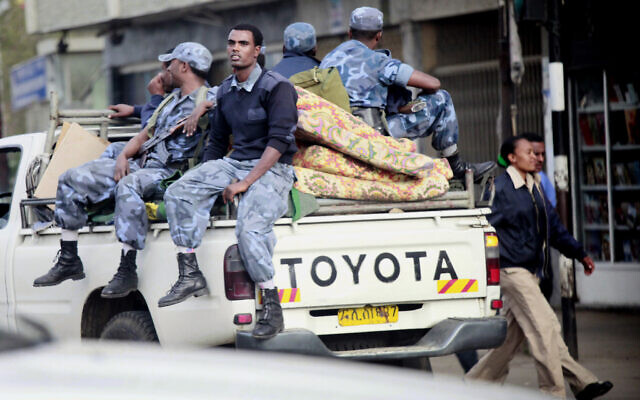 Illustrative: Ethiopian Federal Police ride through Addis Ababa, Ethiopia, Friday May 21, 2010. (AP/Jerome Delay)