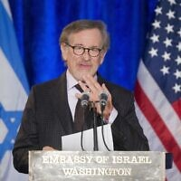 Filmmaker Steven Spielberg speaks as he introduces President Barack Obama at the Righteous Among the Nations Award Ceremony at the Israeli Embassy in Washington, Wednesday, Jan. 27, 2016. (AP Photo/Pablo Martinez Monsivais)