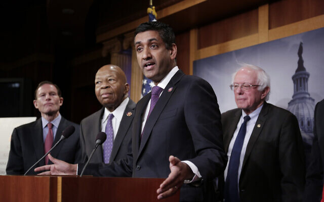 From left, Sen. Richard Blumenthal, D-Conn.; Rep. Elijah Cummings, D-Md.; Rep. Ro Khanna, D-Calif.; and Sen. Bernie Sanders, I-Vt.; speak to reporters on Capitol Hill on Jan. 10, 2019. (AP/J. Scott Applewhite)